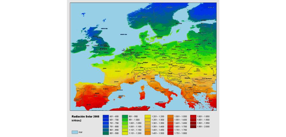 Foto: Mapa horas sol España respecto de Europa.